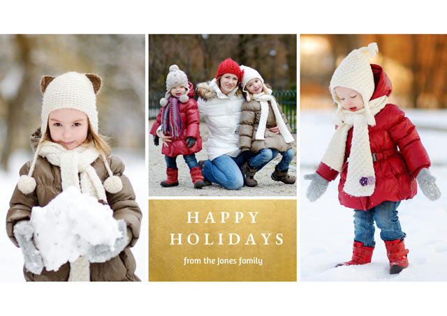 Holiday Festive Foil Collage | Landscape Photo Christmas Card