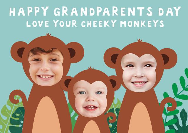 X3 Monkeys Grandparents Day