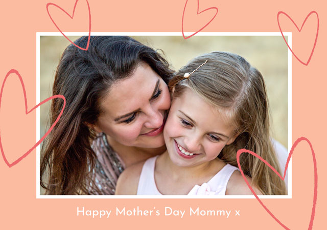 Create Photo Mother's Day Card Glitter Hearts Card