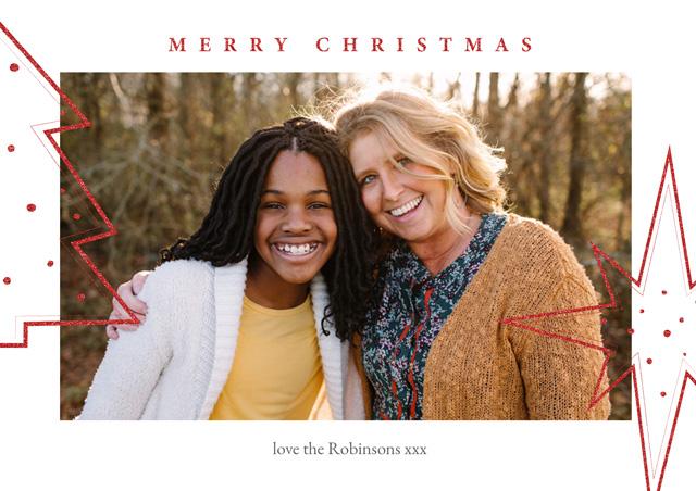 Xmas Tree And Star Personalised Christmas Card
