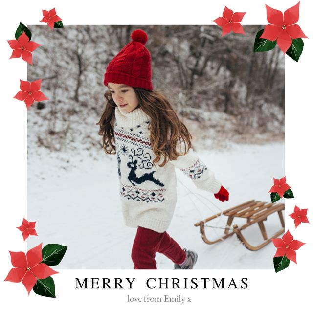 Create Xmas Poinsettias Personalised Christmas Card Card