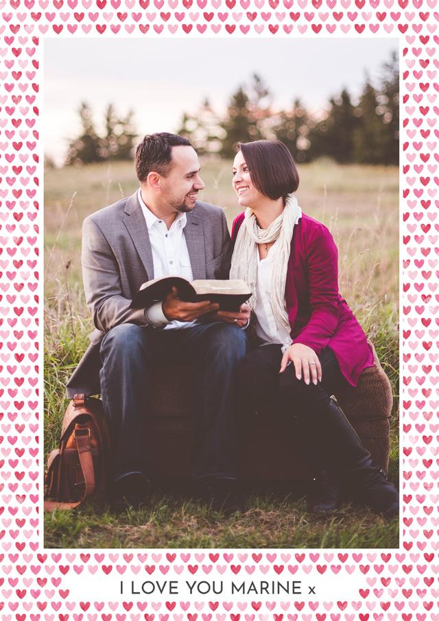 Create a Photo Card Love Hearts Border Portrait Photo Card