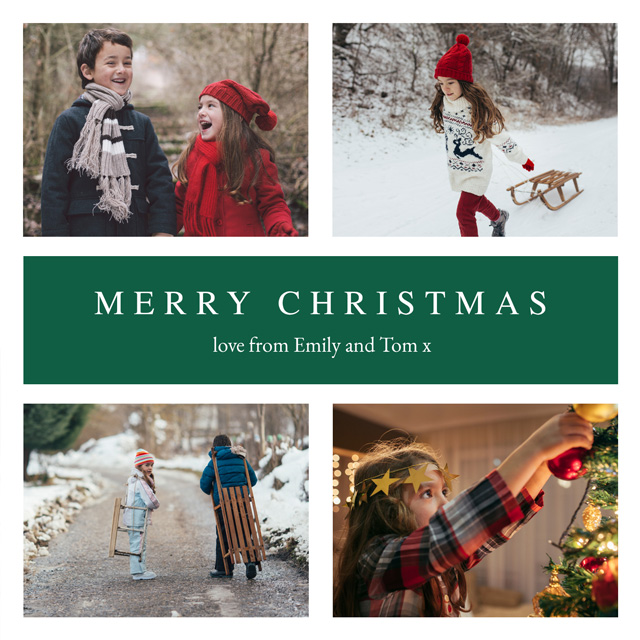Create 4 Photo Personalised Christmas Card Card