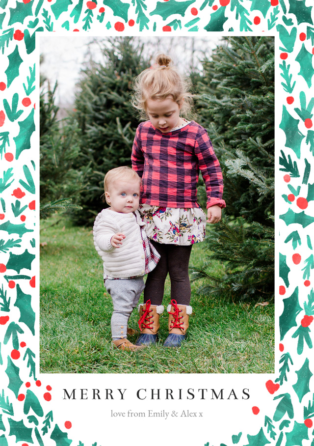 Create Holly Personalised Christmas Card Card