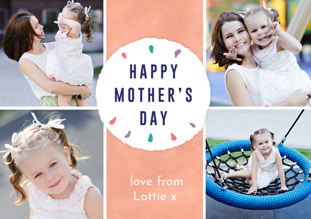 Create Photo Mother's Day Card Collage Circle Card