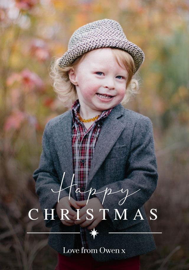 Create Classic Script | Portrait Photo Christmas Card Card