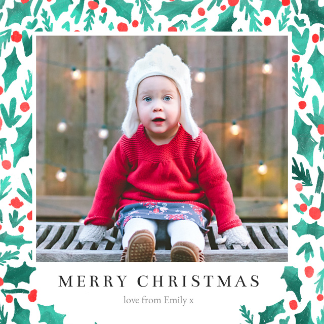 Create Holly | Square Photo Christmas Card Card