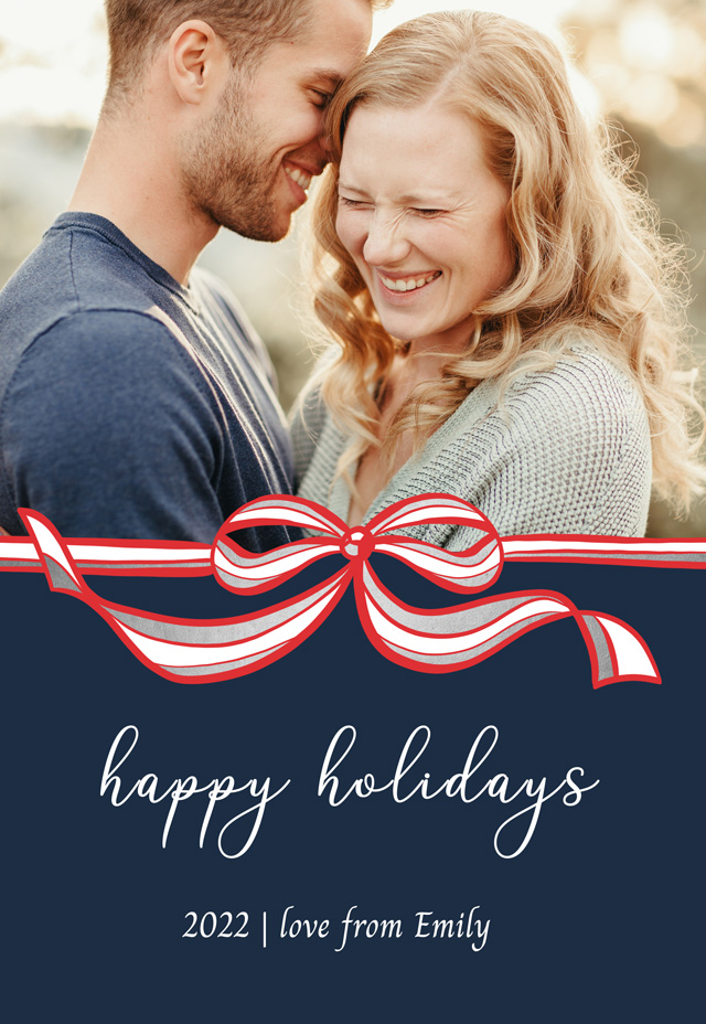 Create Festive Bow Personalized Holiday Card Card