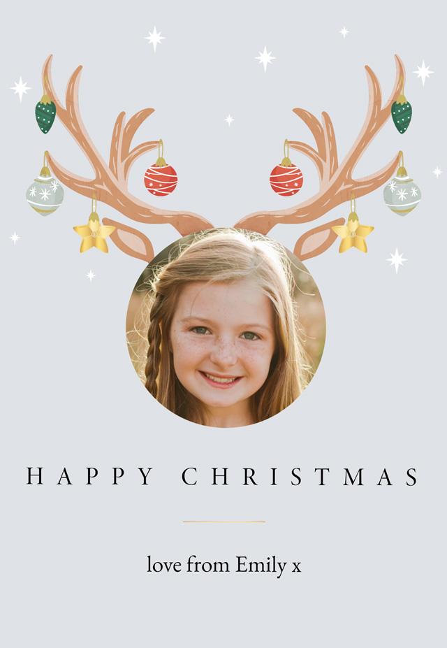 Create Reindeer Antlers Personalised Christmas Card Card
