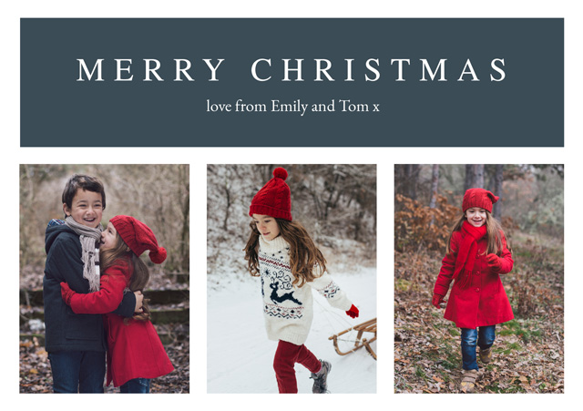 Create Classic 3 Photo Personalised Christmas Card Card