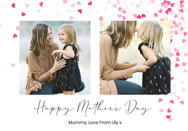Photo Mother's Day Card Heart Collage Heart Confetti