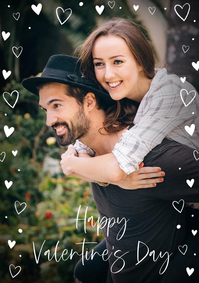 Photo Card Valentines Hearts Overlaid