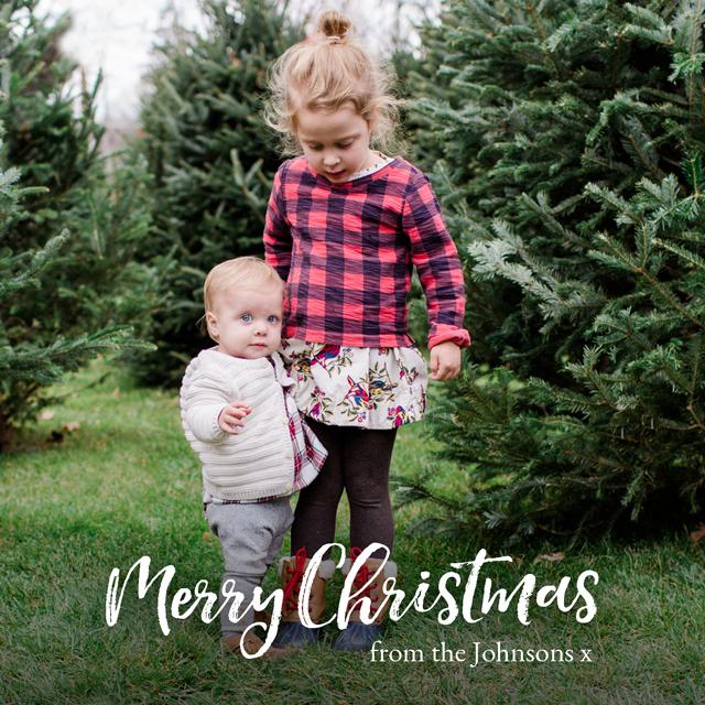 Xmas Script | Square Photo Christmas Card