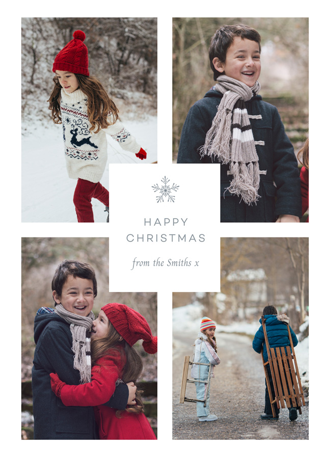 Create Solitary Snowflake Personalised Christmas Card Card