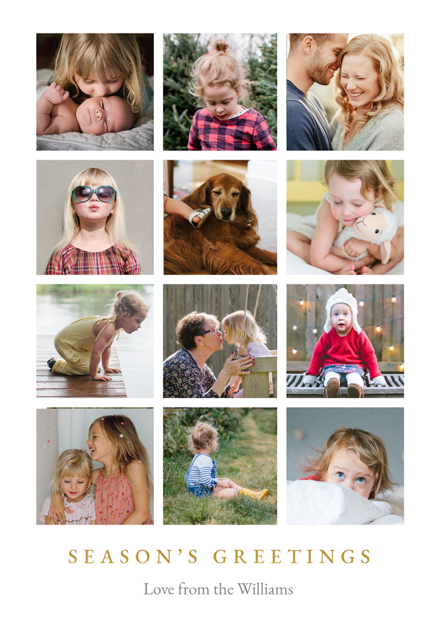 Create Seasons Greetings Collage Personalised Christmas Card Card