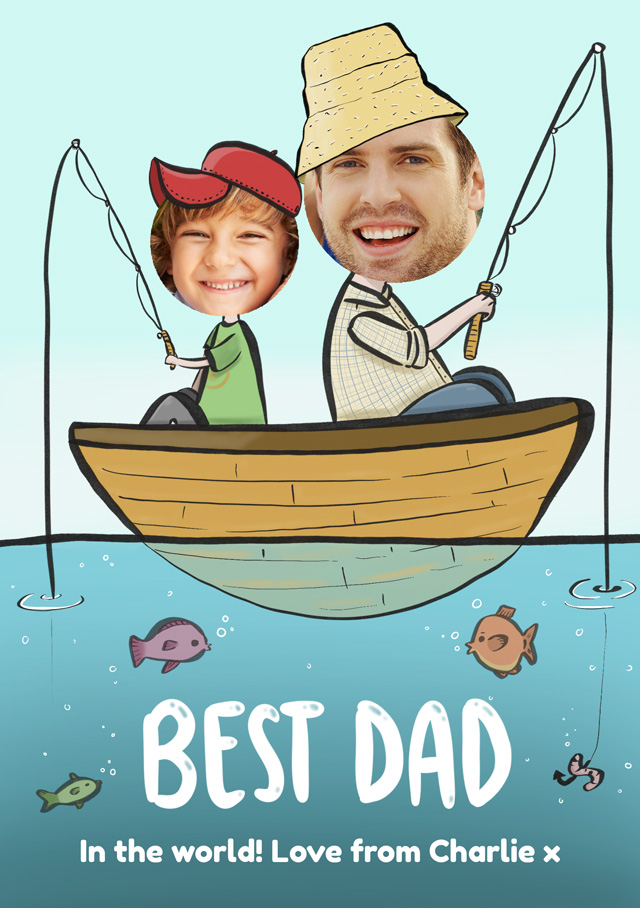 Photo Father's Day Card Best Dad Fishing