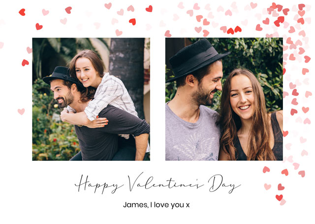 Create Photo Card Valentines Array Of Hearts Card