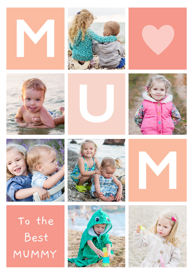 Create Photo Mother's Day Card Mum 7 Photo Collage Portrait Card