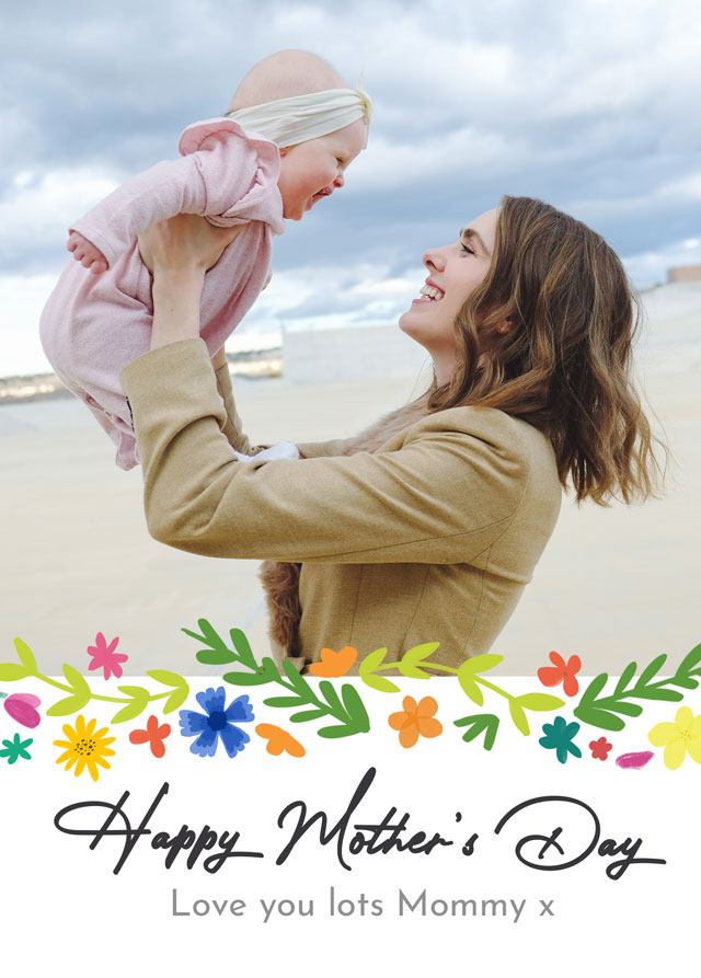 Create Photo Mother's Day Card Modern Flower Pattern Card