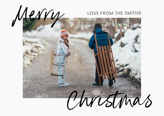 Seasonal Script Personalised Christmas Card