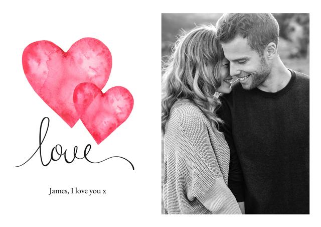 Photo Card Valentines Watercolour Love