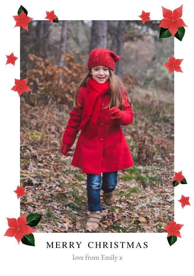 Create Poinsettias | Portrait Photo Christmas Card Card