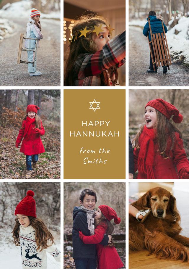 Multi Photo Personalized Hanukkah Card