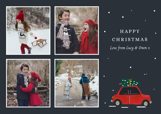 Photo Christmas Cards With Red Truck