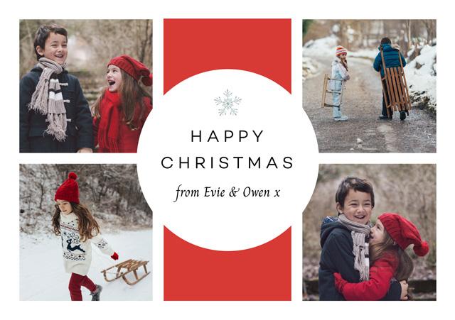 Snowflake Collage | Portrait Photo Christmas Card