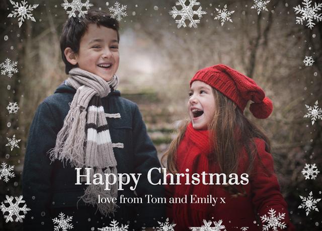 Create Snowflake Flurry Personalised Christmas Card Card