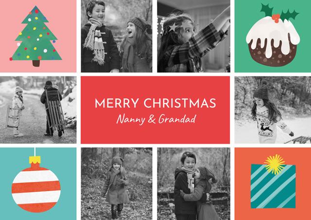 Xmas Illustrations Collage | Portrait Photo Christmas Card