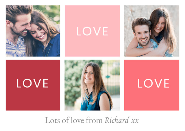 Create Photo Card Valentines Love Love Love Card