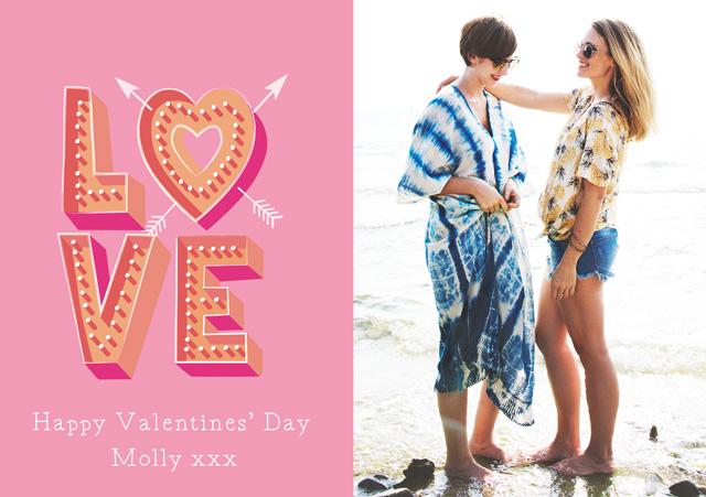 Photo Card Valentines Pink Love
