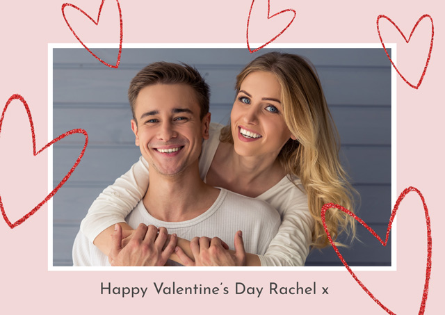 Create Photo Card Valentines Floating Hearts Card
