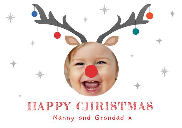 Create Original Antlers Personalised Christmas Card Card