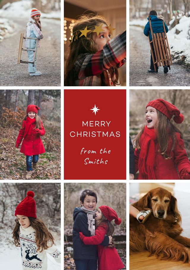 Create Multi Photo Star Personalised Christmas Card Card