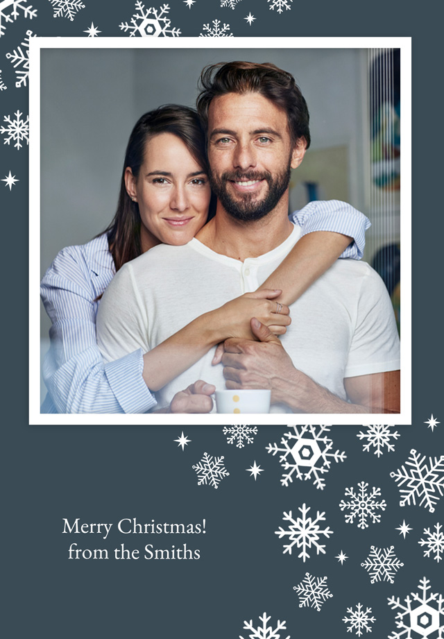 Merry Snowflakes | Portrait Photo Christmas Card