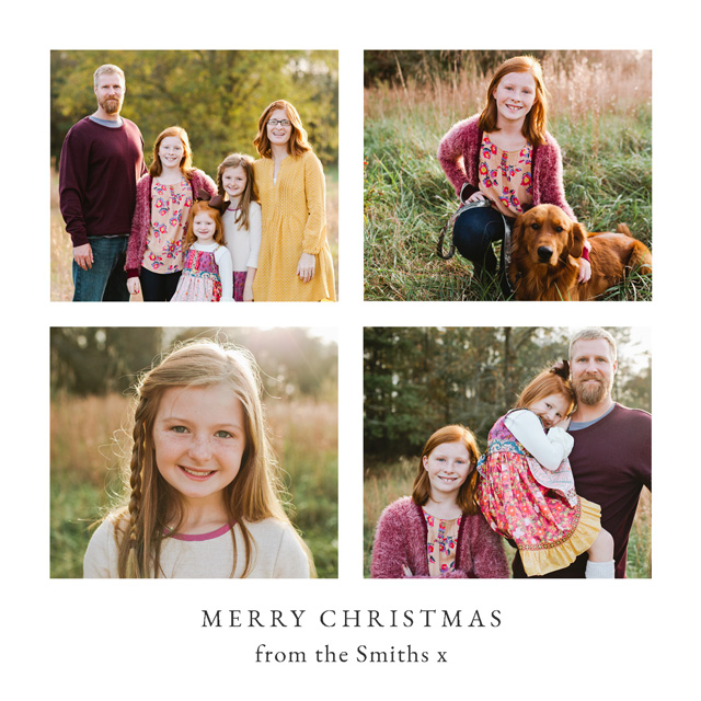 Create Classic 4 Photo Personalised Christmas Card Card