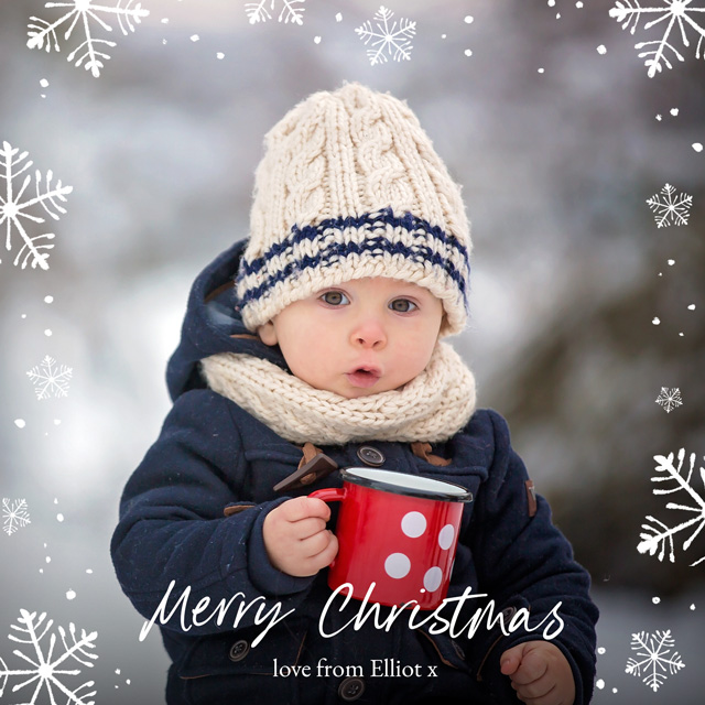 Create Snowflakes | Square Photo Christmas Card Card