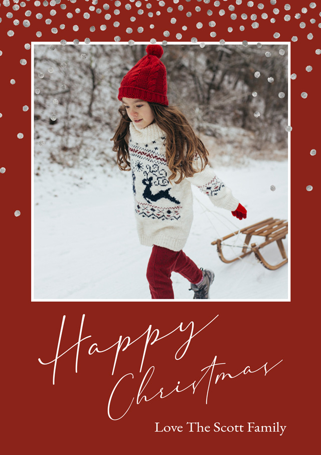 Create Snow Flurry Personalised Christmas Card Card
