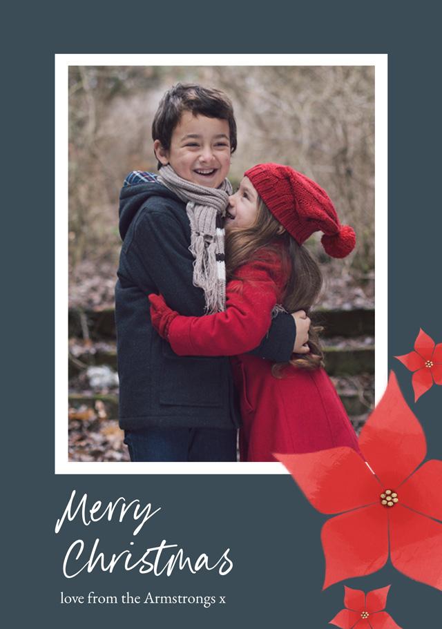 Create Poinsettia Flowers Personalised Christmas Card Card