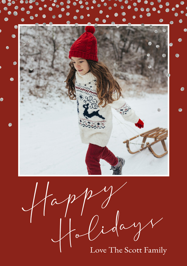 Holiday Snow | Portrait Photo Christmas Card
