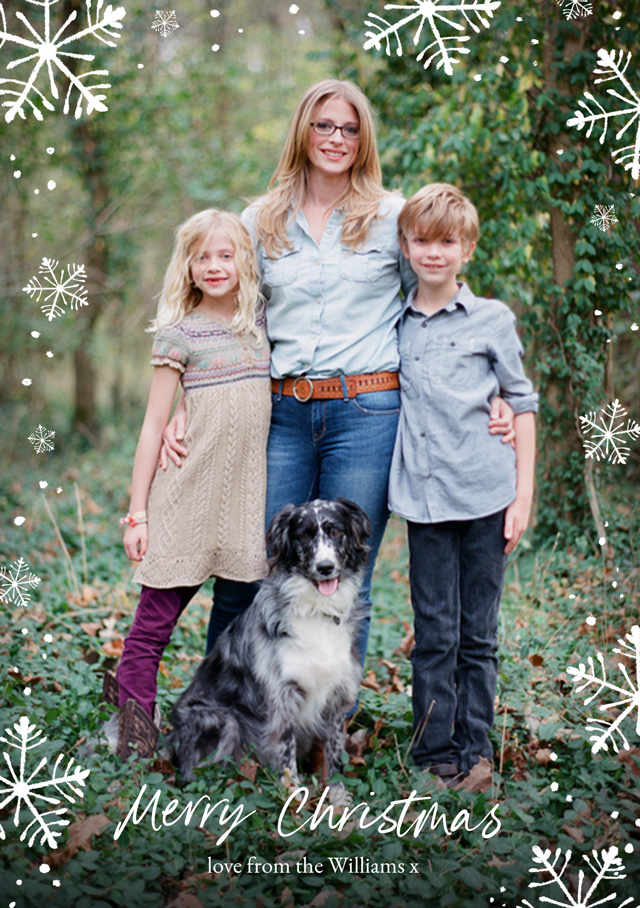 Create Snowflakes | Portrait Photo Christmas Card Card