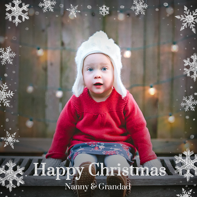 Create Original Snowflakes | Square Photo Christmas Card Card