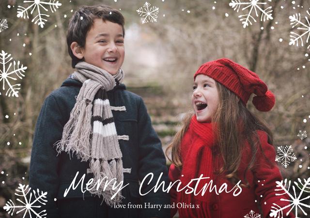 Create Snowflakes | Landscape Photo Christmas Card Card